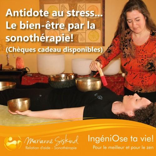 Séance de sonothérapie ou massage sonore par les bols tibétains et instruments méditatifs